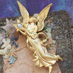 Vintage JJ Gold Fantasy Guardian Angel Brooch